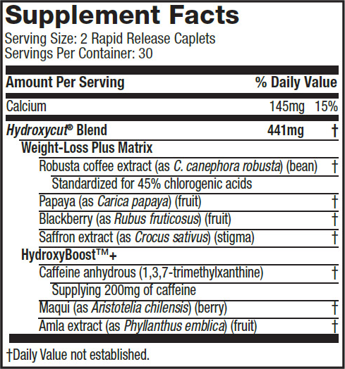 Pro Clinical Hydroxycut SuppFacts
