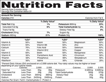 Nature's Best IsoPure Zero Carb SuppFacts