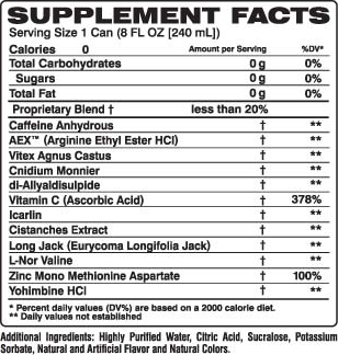 VPX Sports Black Pearl Supplement Facts