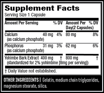 TwinLab Yohimbe Fuel Supplement Facts