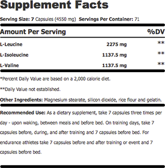AST Sports Science BCAA Supplement Facts