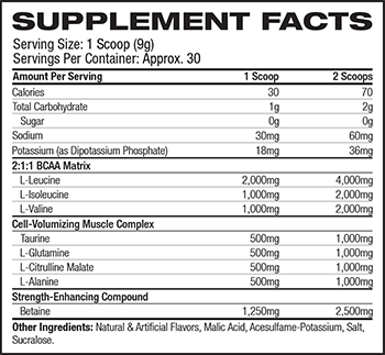 MuscleTech Performance Series Amino Build Supplement Facts