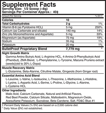 MusclePharm Bullet Proof Supplement Facts