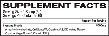 MusclePharm Core Series Creatine Supplement Facts
