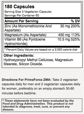 PrimaForce ZMA Supplement Facts