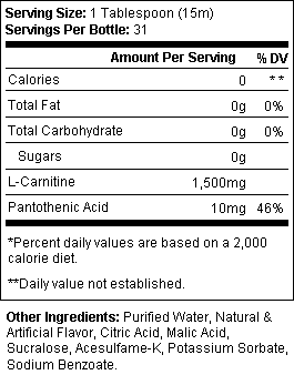 ProSupps L-Carnitine 1500 SuppFacts