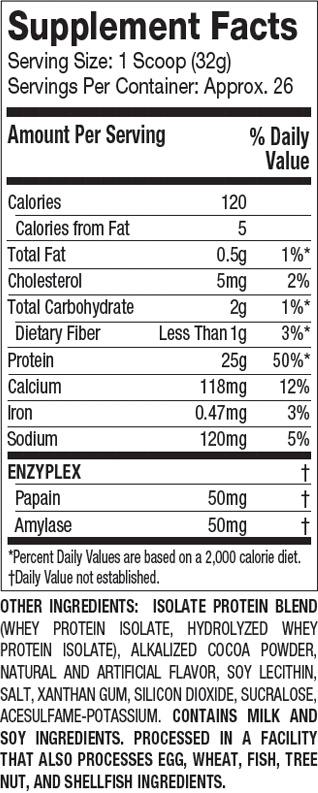 MuscleTech Platinum 100% Iso-Whey Supplement Facts