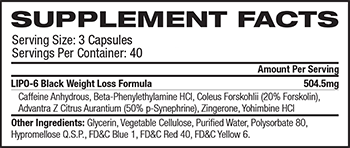 Nutrex Research Lipo-6 Black Supplement Facts