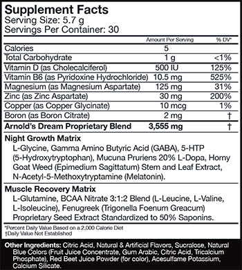 MusclePharm Arnold Series Iron Dream Supplement Facts