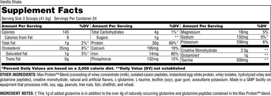 Universal Nutrition Max Protein Supplement Facts