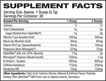 Nutrex Research OUTRAGE Supplement Facts