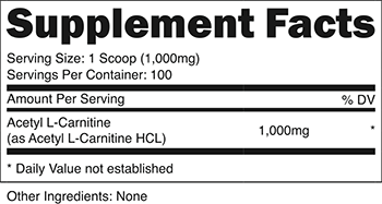 Acetyl L-Carnitine SuppFacts