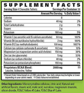 High Energy Labs ElectroAmino Supplement Facts