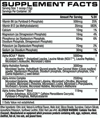 Cellucor Alpha Amino Xtreme Supplement Facts