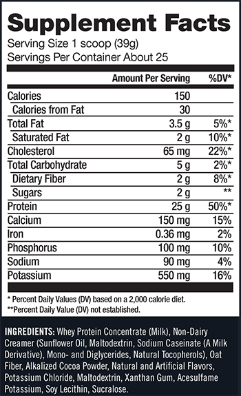 CytoSport Monster Whey Supplement Facts