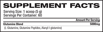 MusclePharm Core Series Glutamine Supplement Facts
