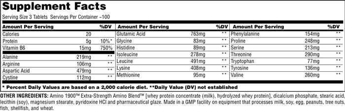 Universal Nutrition Amino 1900 Supplement Facts