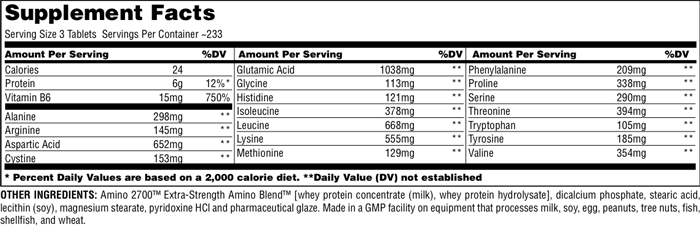 Universal Nutrition Amino 2700 Supplement Facts