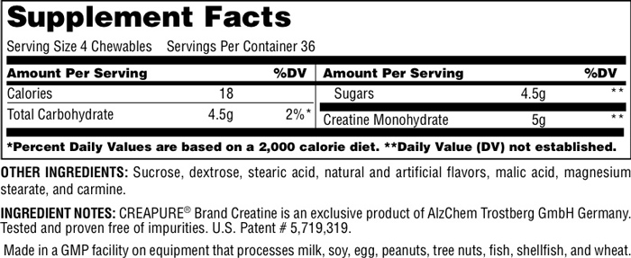 Universal Nutrition Creatine Chewables Supplement Facts