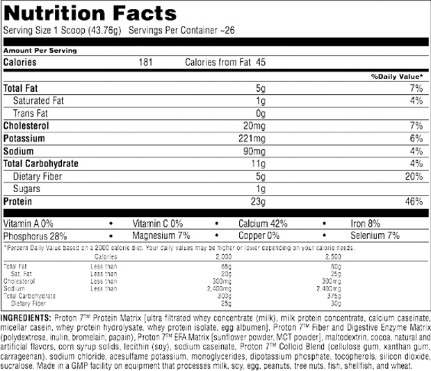 Universal Nutrition Proton 7 Supplement Facts