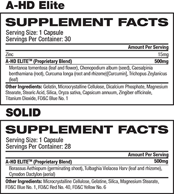 BPI Sports A-HD/SOLID Supplement Facts