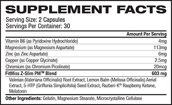 MusclePharm FitMiss Z-Slim PM Supplement Facts