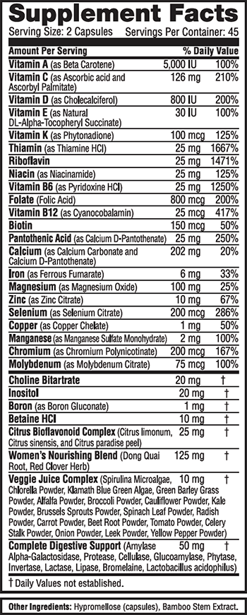 Labrada Nutrition Lean Body for Her Multi-Vitamin Supplement Facts
