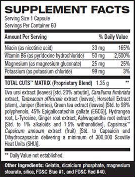 Cutler Nutrition Total Cuts SuppFacts