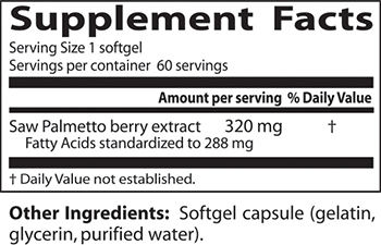 Doctor's Best Saw Palmetto Supplement Facts