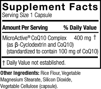 Genceutic Naturals 24Hr Microactive CoQ10 Supplement Facts
