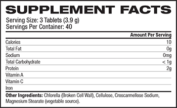 NOW Chlorella Supplement Facts