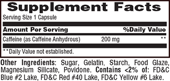 Met-Rx Timed-Release Caffeine Supplement Facts