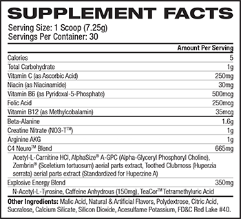 Cellucor C4 Neuro Supplement Facts