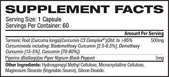 S.A.N. Supreme Curucmin C3 Supplement Facts