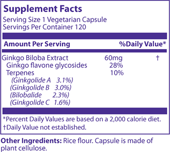 MRM Ginkgo B Supplement Facts