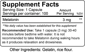 Nutrakey Melatonin Supplement Facts