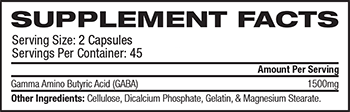 Ultimate Nutrition GABA Supplement Facts