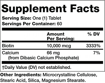Olympian Labs Biotin Supplement Facts