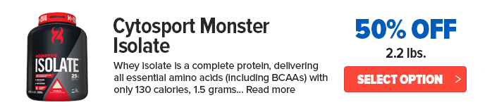50% off cytosport monster isolate