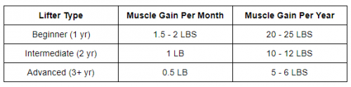 Muscle Building Table