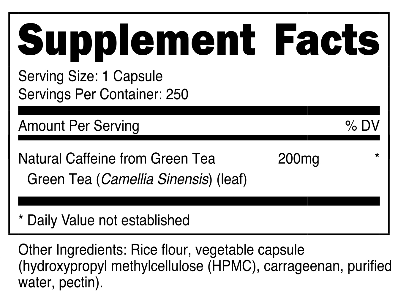 Nutricost Natural Caffeine Supplement Facts