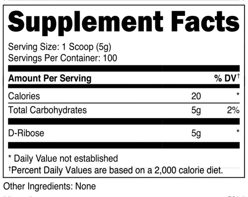 Nutricost D-Ribose Supplement Facts