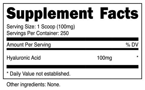 Hyaluronic Acid Powder SuppFacts