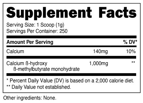 Nutricost HMB Supplement Facts