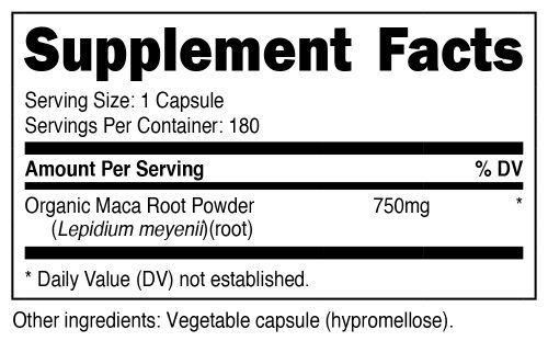 Nutricost Maca Root Supplement Facts