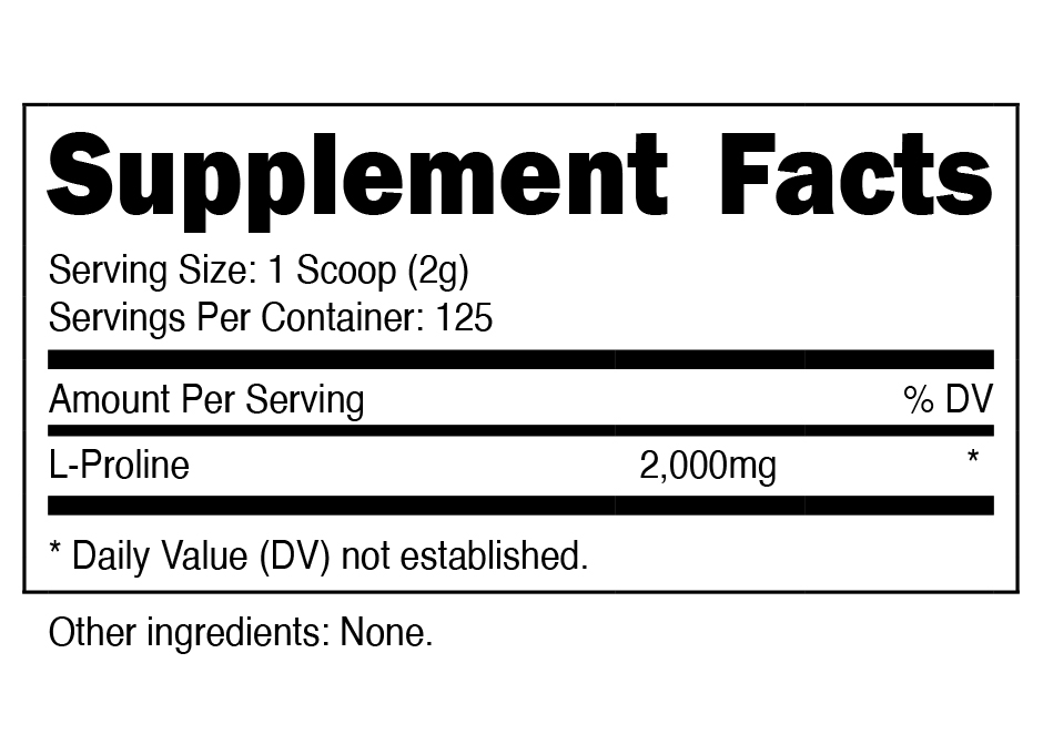 Nutricost L-Proline Supplement Facts