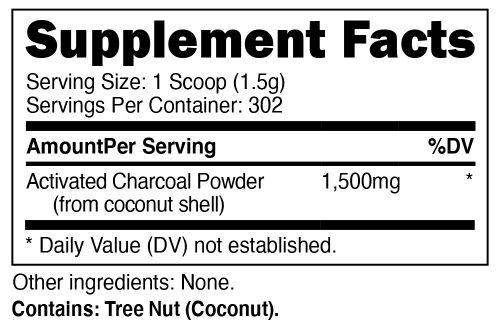 Nutricost Activated Charcoal Supplement Facts