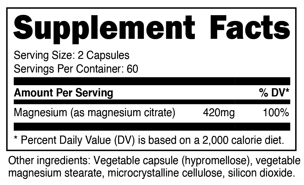 Nutricost Magnesium Citrate Supplement Facts