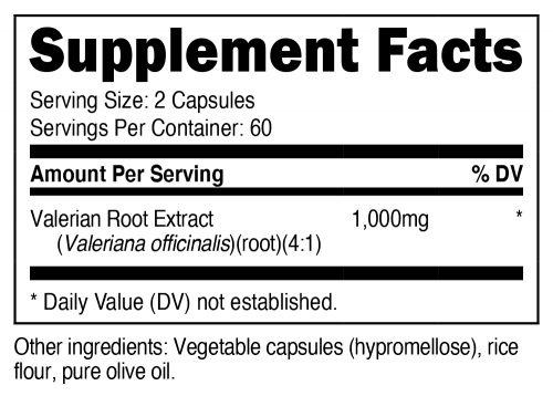 Nutricost Valerian Root Supplement Facts