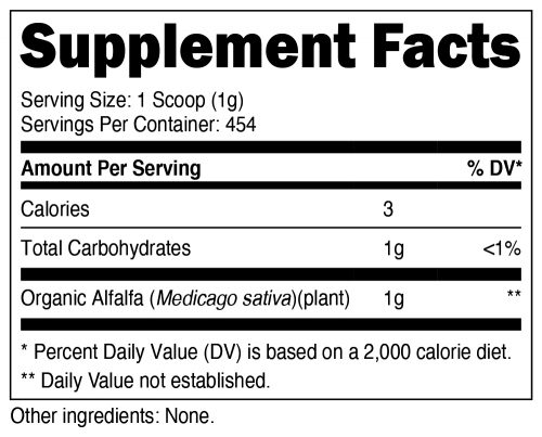 Nutricost Alfalfa Supplement Facts